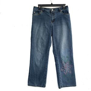 Lilly Pulitzer Jeans - Lilly Pulitzer   Floral Embellished Cropped Jeans